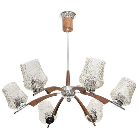 Midcentury European Chandelier W Wood And Crystal Accents European Chandeliers