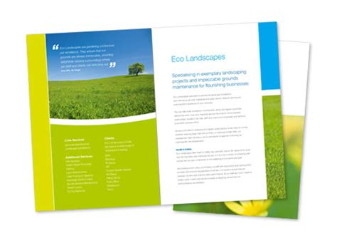 designs brochure sles corporate sales brochure design eco landscapes