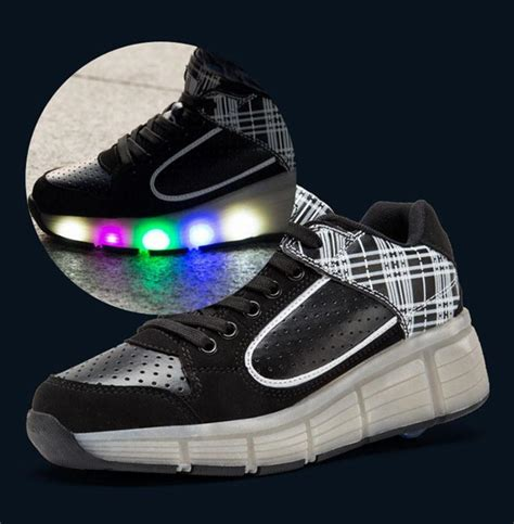 New 26 30 Kid Shoes Led Sparkly Sepatu Flat Anak Sepatu Led new heelys children shoes with wheels led light up roller shoes sneakers for boys