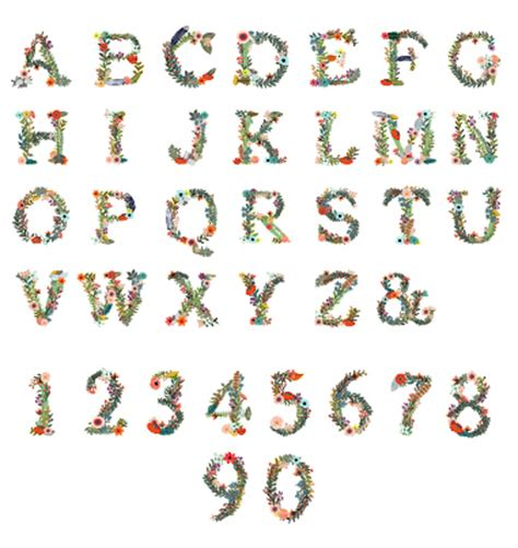printable alphabet letters with flowers alphabet with number and flower vector welovesolo