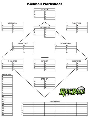softball field position sheets pictures to pin on