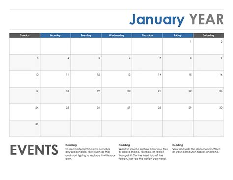 horizontal calendar sunday start office templates