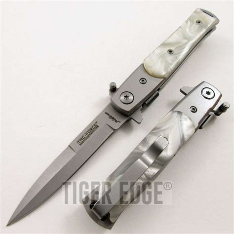 small stiletto knife tac white pearl small assisted stiletto