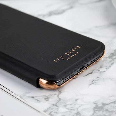 ted baker iphone xs max mirror folio case shannon black