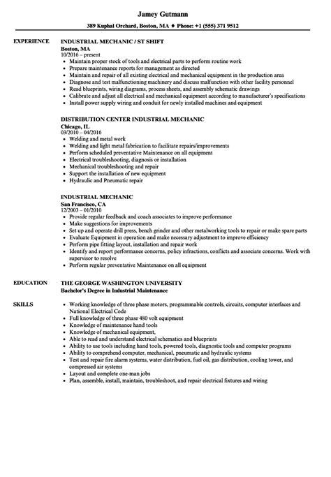 industrial maintenance resume format industrial maintenance mechanic resume sles krida info