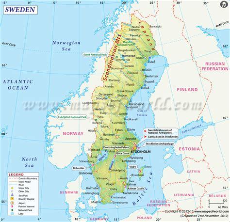 sweden on a map map of sweden