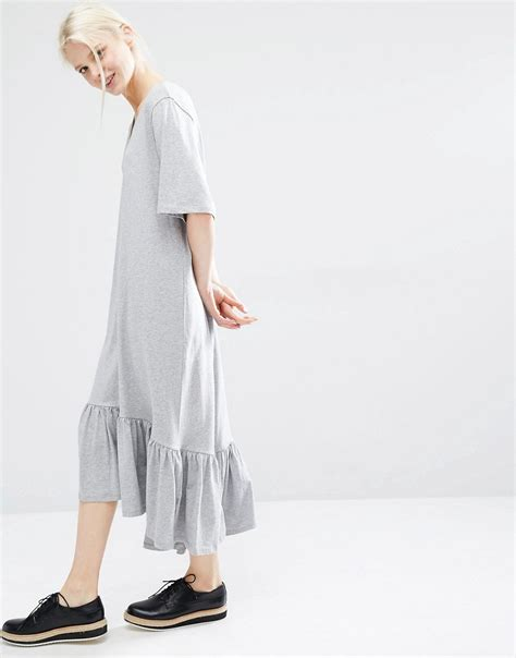 Ruffle Hem Sleeve Midi Dress ruffle hem midi dress by monki grey