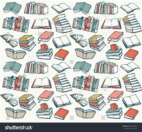 seamless pattern books book collection seamless vector pattern stock vector