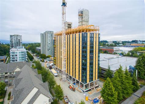 brock commons the world s 18 storey mass timber hybrid ubc brock commons tops out