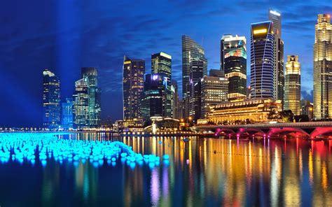 singapore city  night full hd wallpaper