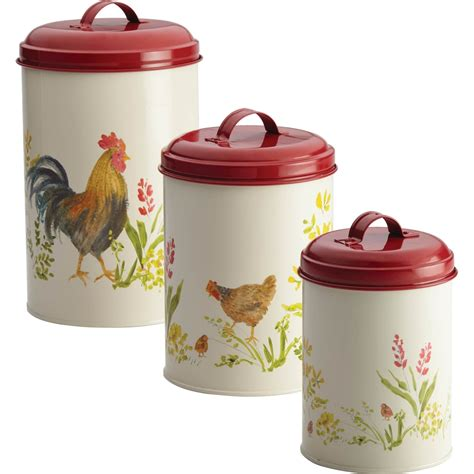 rooster canisters kitchen products paula deen 3 pc rooster canister set food storage home appliances shop the exchange