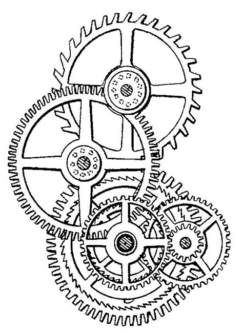 printable clock gears gears shelby tattoo coloring pages pinterest