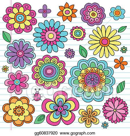free vector floral doodle vector clipart flower power groovy doodles vectors