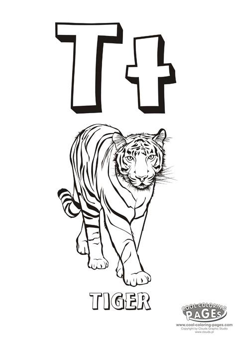 tiger t coloring page letter t coloring pages getcoloringpages com