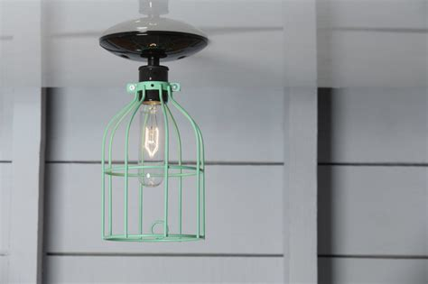 cage light mint green ceiling mount industrial