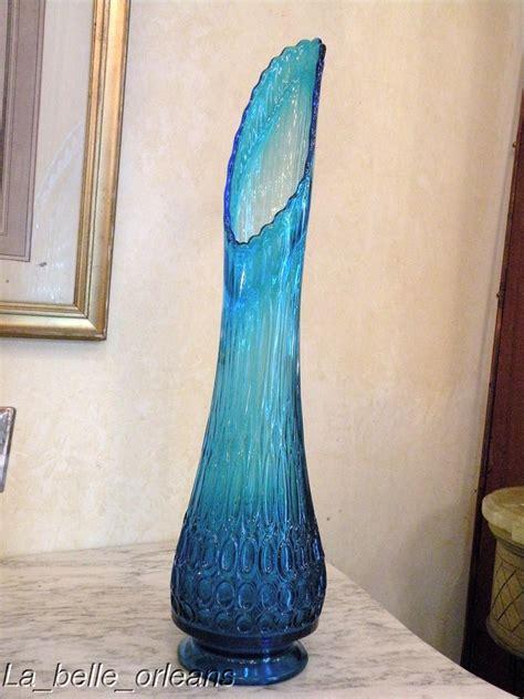 Antique Blue Vase Superb Blue Turquoise Mid Century Glass Vase Fenton For