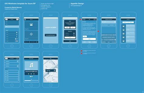 ios wireframe template axure ios flat wireframe template ux ui land