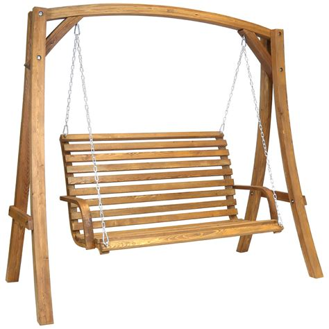Swing Seat by 2 3 Seater Larch Wood Wooden Garden Outdoor Swing Seat