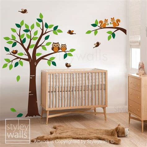 Forest Winter Tree Wall Decal Tree Woodland Squirrels Owl Forest Nursery Wall Decals