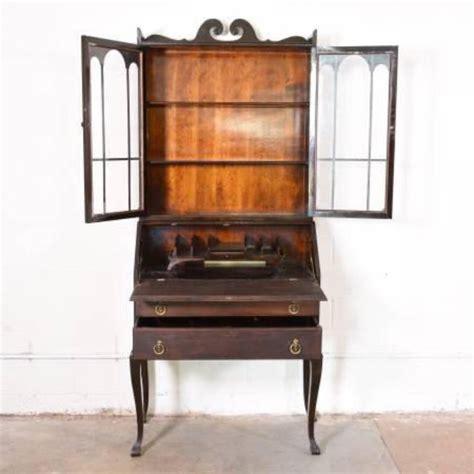 tall antique dark wood secretary desk loveseat vintage