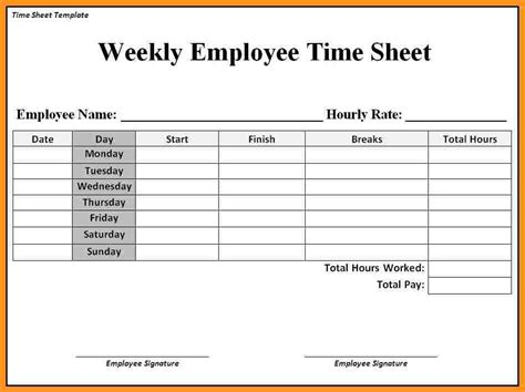 employee weekly time card template employee timesheet templates hunecompany