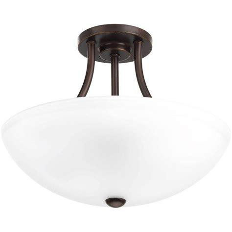 bronze semi flush mount light progress lighting gather collection 2 light antique bronze