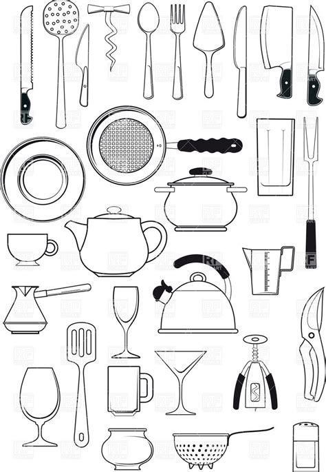 coloring pages of kitchen items tableware kitchen utensils silhouettes royalty free