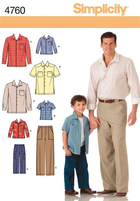 sewing pattern jeans mens boys and mens pants and shirt sewing pattern 4760