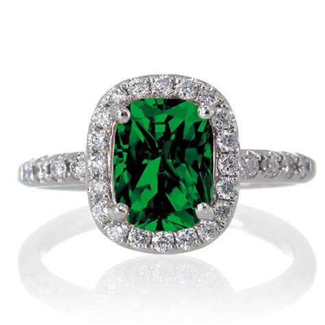 1 5 carat cushion cut emerald antique engagement ring on 10k white gold jeenjewels