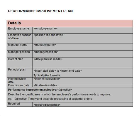 employee performance improvement plan template performance improvement plan template 9