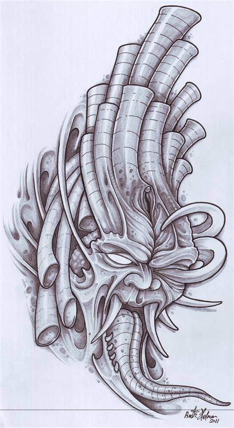 tattoo sketch design biomechanical tattoos and designs page 38