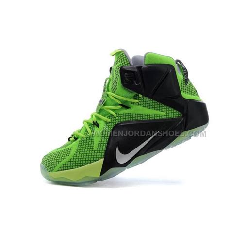 cheap basketball shoes cheap nike lebron 12 black green silver basketball shoes