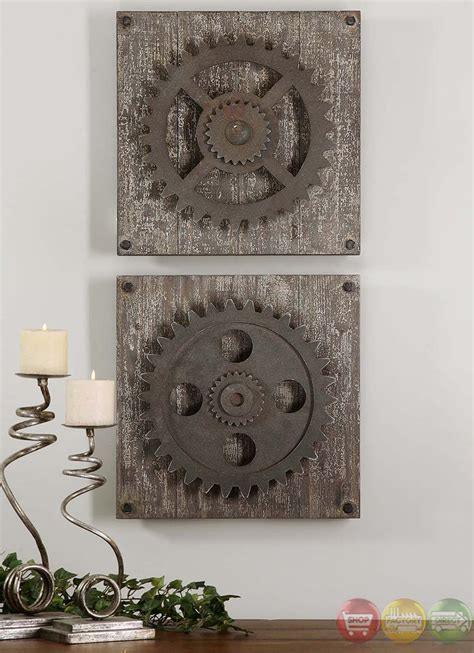 rustic wall art set of 2 rustic gears traditional rustic wall art 13828