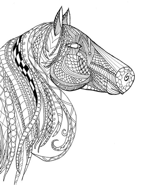 zentangle horse coloring page horse head zentangle adult coloring page