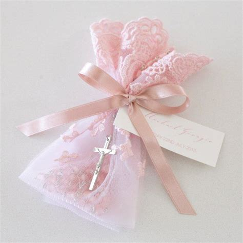 what is a wedding bomboniere pink lace bag rosary christening bomboniere