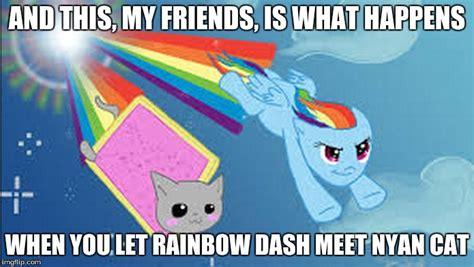 Rainbow Cat Meme - image tagged in rainbow dash nyan cat imgflip