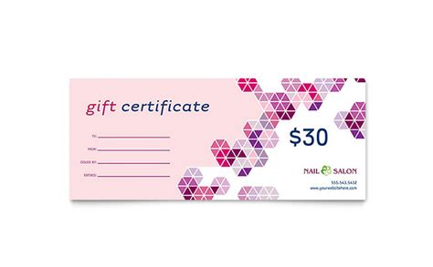 Nail Salon Gift Certificate Template Design Spa Gift Certificate Template Word
