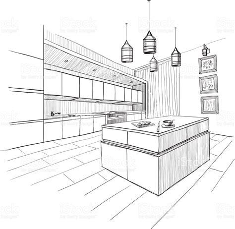 kitchen sketch interior sketch of modern kitchen with island stock vector