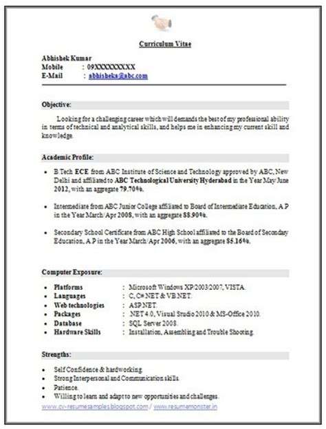 Resume Format For Btech Freshers Doc 10000 Cv And Resume Sles With Free