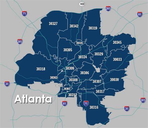 city of atlanta zip code map atlanta zipcode