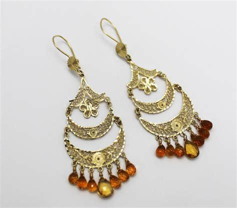 Handmade Chandelier Earrings - handmade citrine chandelier earrings 14kt gold
