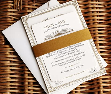 vintage inspired wedding stationery mike s vintage inspired gold letterpress wedding invitations