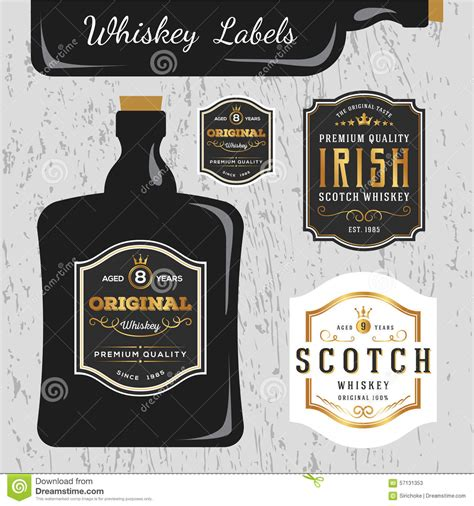 Whiskey Brands Label Design Template Stock Vector Illustration Of Sign Black 57131353 Liquor Bottle Label Templates Free