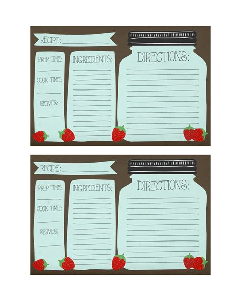 Free Printable Recipe Cards Gifts Jar | 6 best images of cute printable recipe cards strawberry