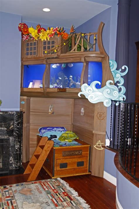 fish tank bedroom pirate ship bed tank we watched them build this on