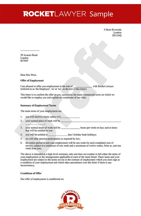 Employment Letter Template Uk Offer Of Employment Letter Create A Offer Letter