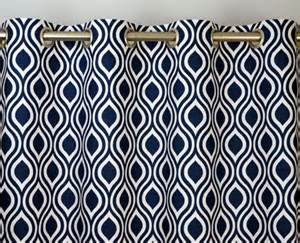 Navy Blue And White Curtains Navy Blue White Modern Geometric Contemporary By Zeldabelle