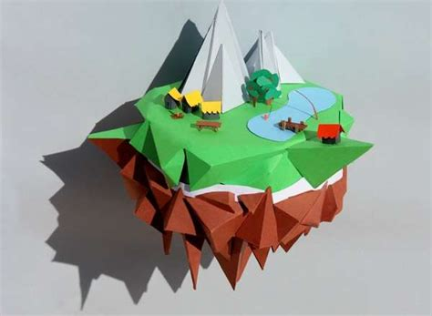 Papercraft Projects - paper landscape constructions paper projects
