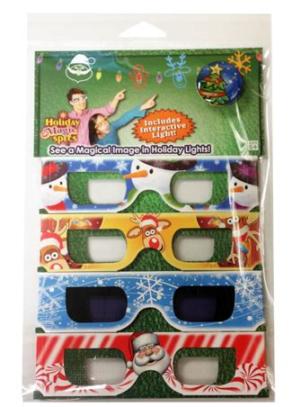 christmas glasses holiday magic 3d fun set led pin and