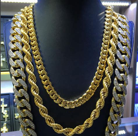 Mixed Chain Kalung three gold chains every needs mens gold chains